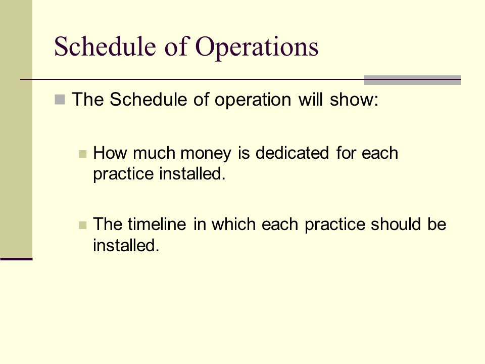 Schedule of Operations The Schedule of operation will show: How much money is dedicated for each practice installed.