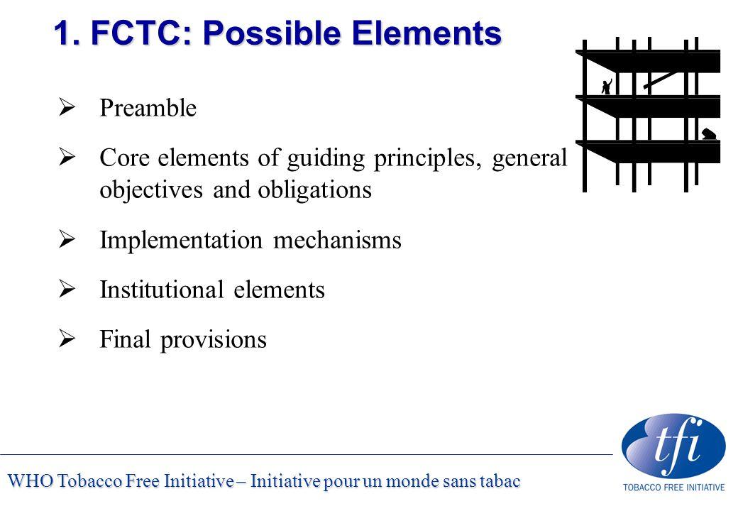 WHO Tobacco Free Initiative – Initiative pour un monde sans tabac 1. FCTC: Possible Elements  Preamble  Core elements of guiding principles, general