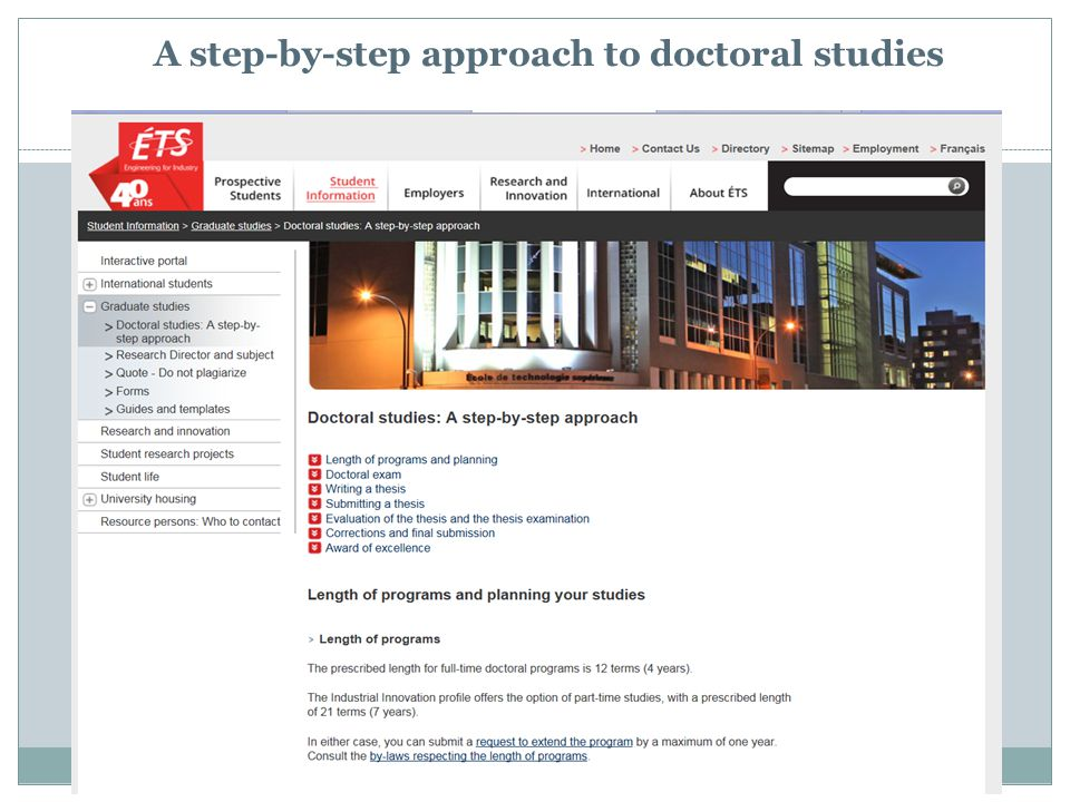 A step-by-step approach to doctoral studies