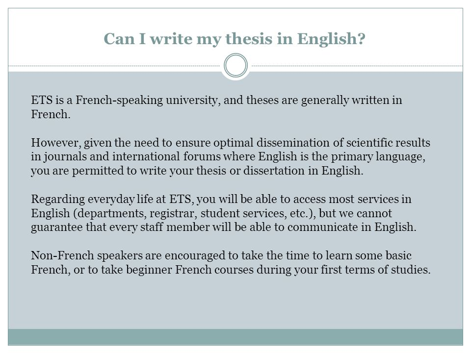 Can I write my thesis in English.