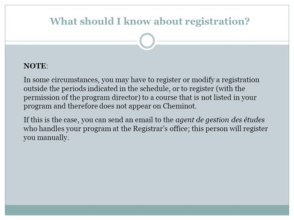 What should I know about registration.