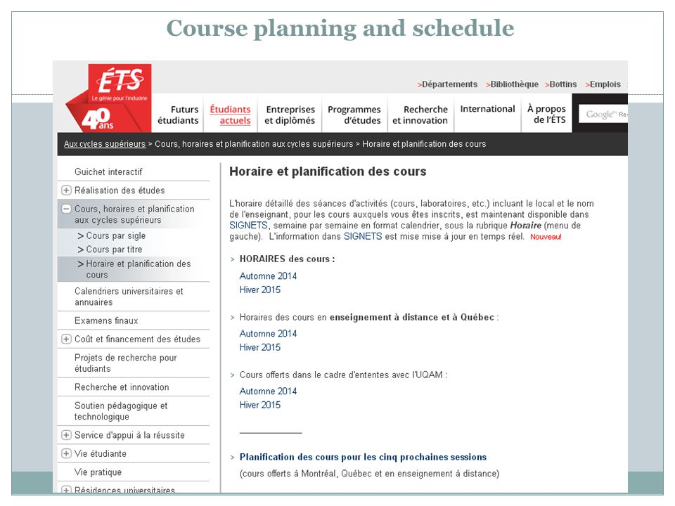Course planning and schedule