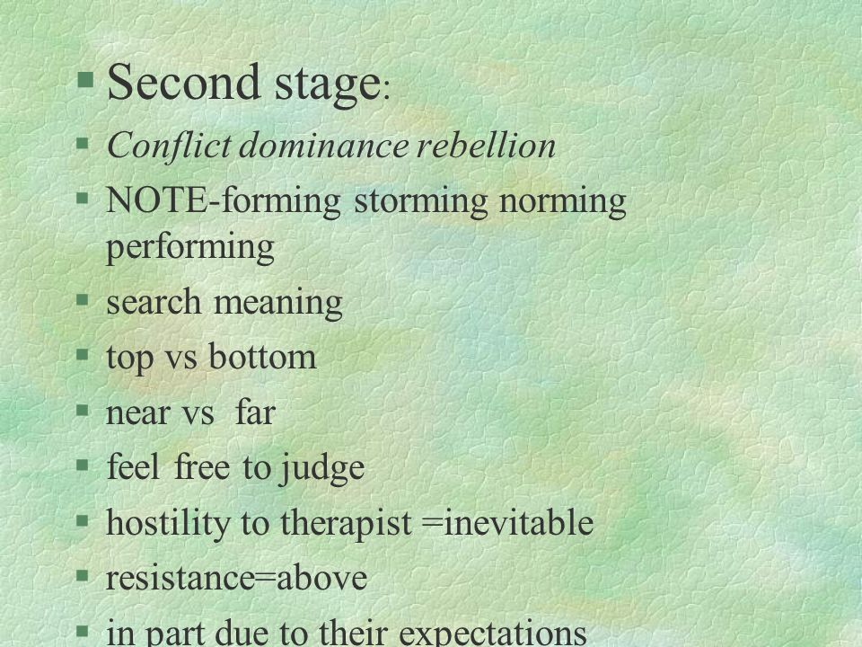 §Second stage : §Conflict dominance rebellion §NOTE-forming storming norming performing §search meaning §top vs bottom §near vs far §feel free to judg