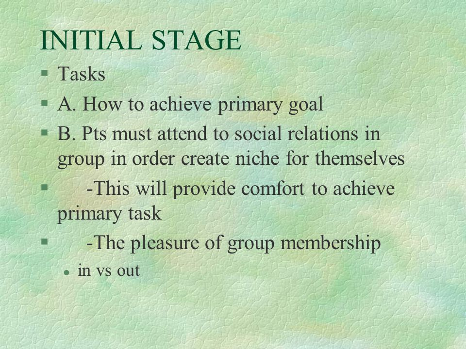 INITIAL STAGE §Tasks §A. How to achieve primary goal §B. Pts must attend to social relations in group in order create niche for themselves §-This will