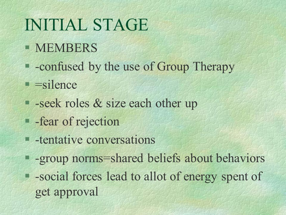 INITIAL STAGE §MEMBERS §-confused by the use of Group Therapy §=silence §-seek roles & size each other up §-fear of rejection §-tentative conversation