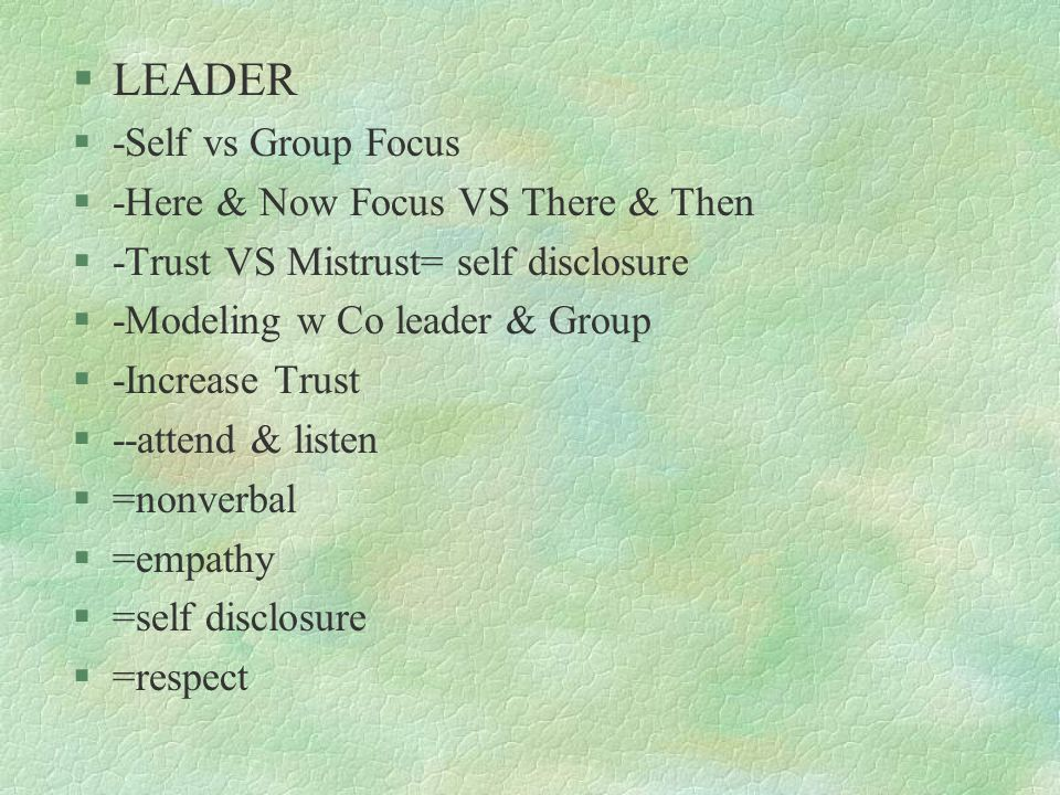 §LEADER §-Self vs Group Focus §-Here & Now Focus VS There & Then §-Trust VS Mistrust= self disclosure §-Modeling w Co leader & Group §-Increase Trust
