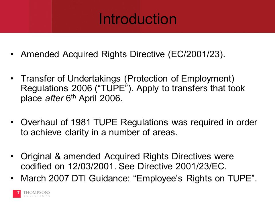 Introduction Amended Acquired Rights Directive (EC/2001/23).