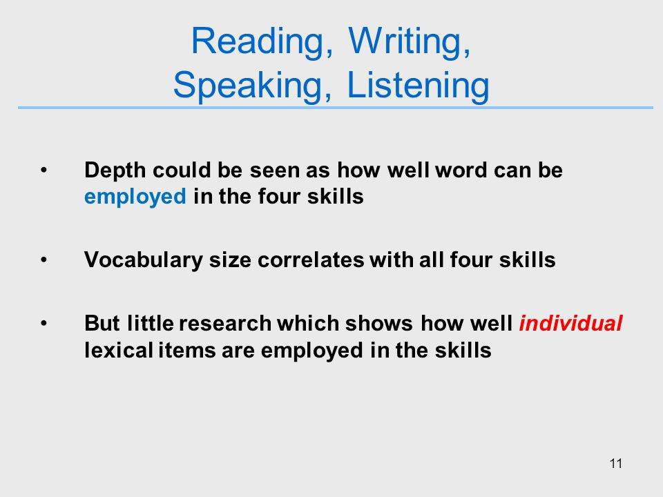 11 Reading, Writing, Speaking, Listening Depth could be seen as how well word can be employed in the four skills Vocabulary size correlates with all four skills But little research which shows how well individual lexical items are employed in the skills