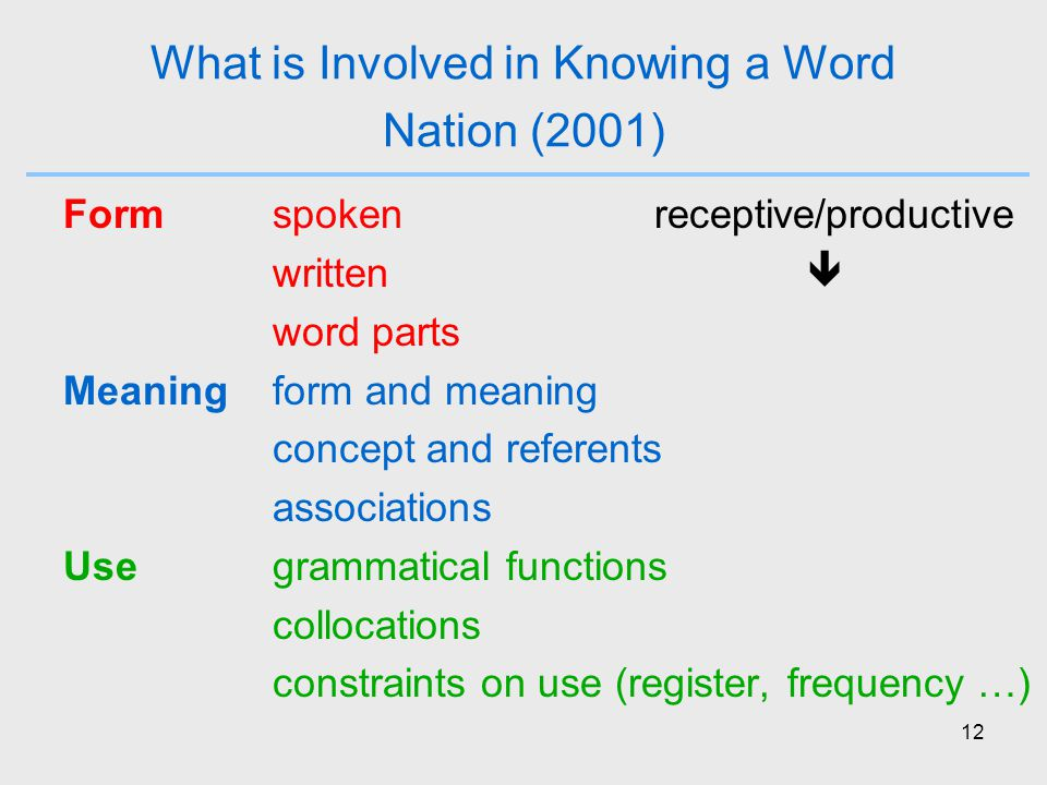 12 What is Involved in Knowing a Word Nation (2001) Formspoken receptive/productive written  word parts Meaningform and meaning concept and referents associations Usegrammatical functions collocations constraints on use (register, frequency …)