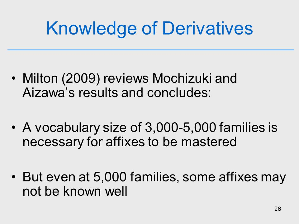 26 Knowledge of Derivatives Milton (2009) reviews Mochizuki and Aizawa's results and concludes: A vocabulary size of 3,000-5,000 families is necessary for affixes to be mastered But even at 5,000 families, some affixes may not be known well