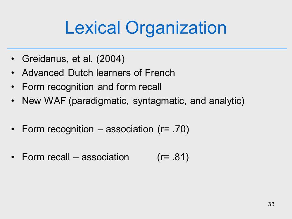 33 Lexical Organization Greidanus, et al.