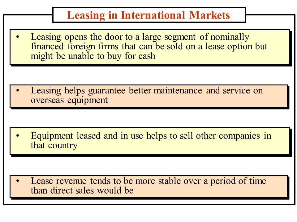 Leasing in International Markets Leasing opens the door to a large segment of nominally financed foreign firms that can be sold on a lease option but