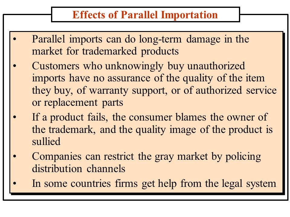 Effects of Parallel Importation Parallel imports can do long-term damage in the market for trademarked products Customers who unknowingly buy unauthor