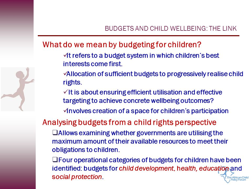 BUDGETS AND CHILD WELLBEING: THE LINK What do we mean by budgeting for children.