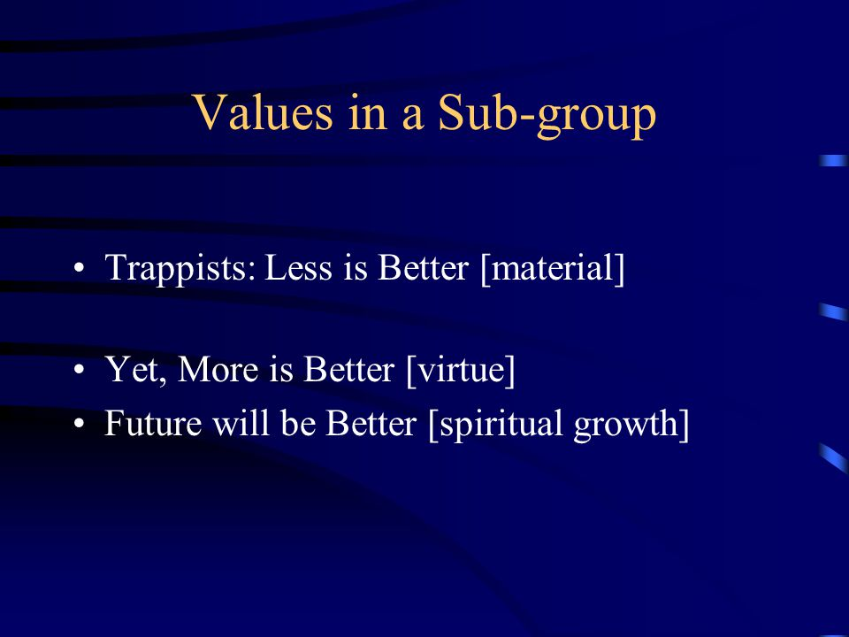 Values in a Sub-group Trappists: Less is Better [material] Yet, More is Better [virtue] Future will be Better [spiritual growth]