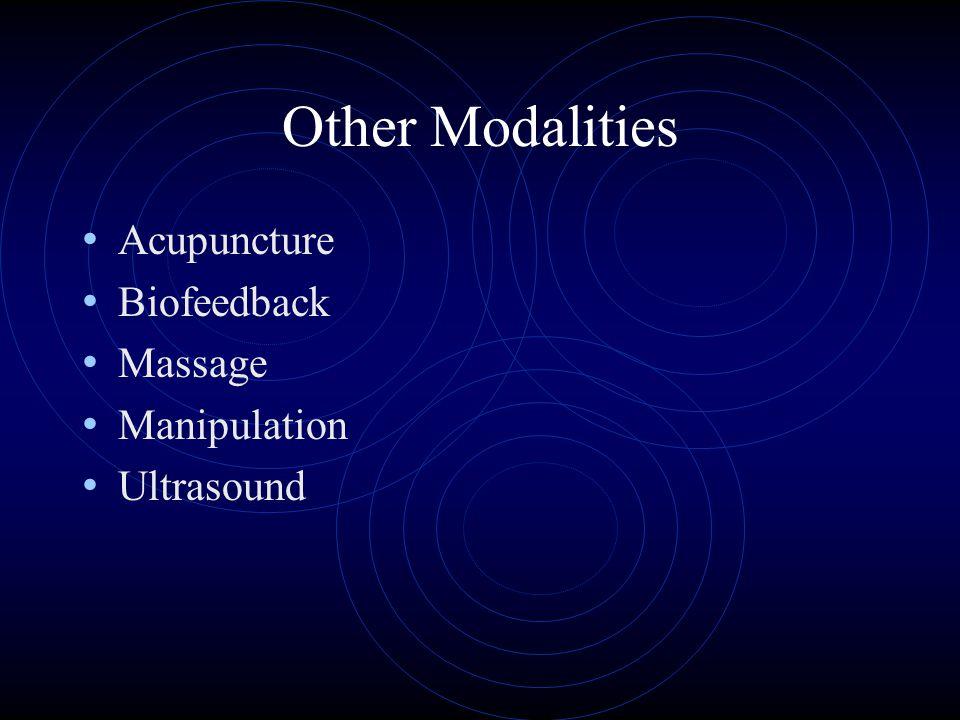 Other Modalities Acupuncture Biofeedback Massage Manipulation Ultrasound