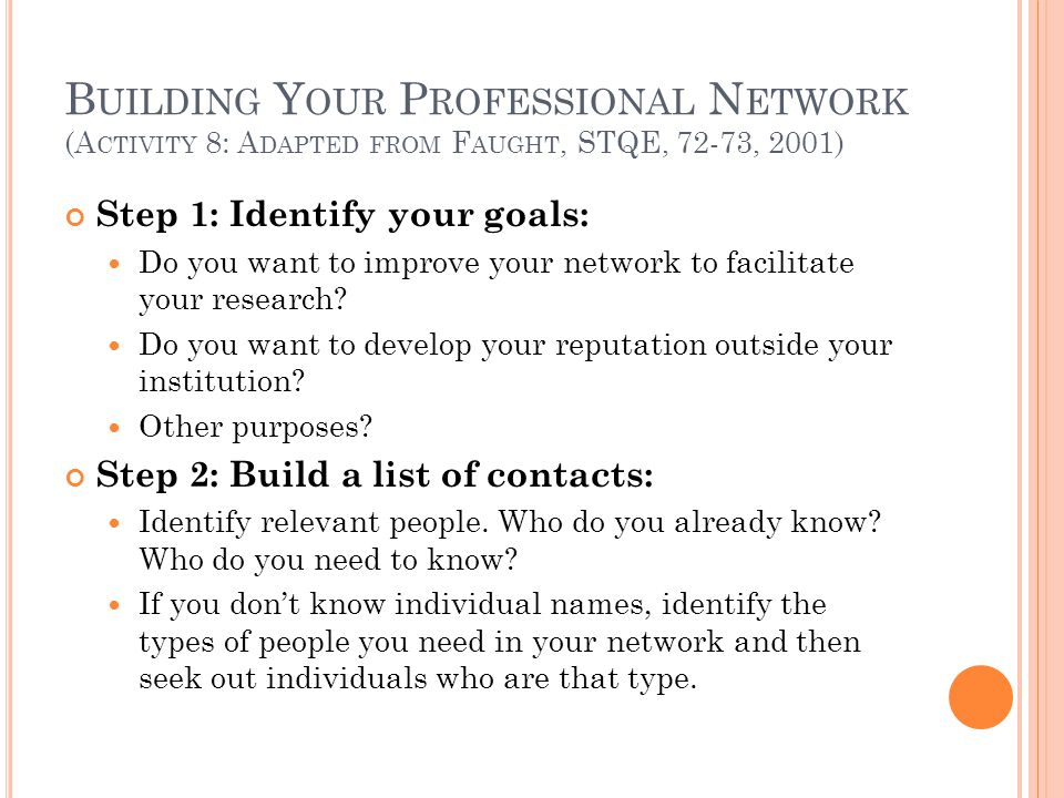 B UILDING Y OUR P ROFESSIONAL N ETWORK (A CTIVITY 8: A DAPTED FROM F AUGHT, STQE, 72-73, 2001) Step 1: Identify your goals: Do you want to improve you
