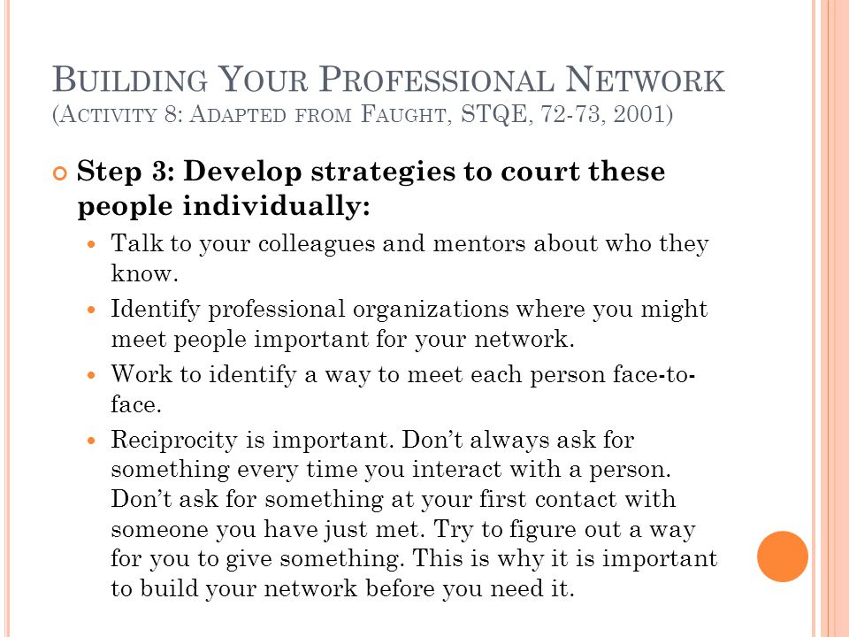 B UILDING Y OUR P ROFESSIONAL N ETWORK (A CTIVITY 8: A DAPTED FROM F AUGHT, STQE, 72-73, 2001) Step 3: Develop strategies to court these people indivi