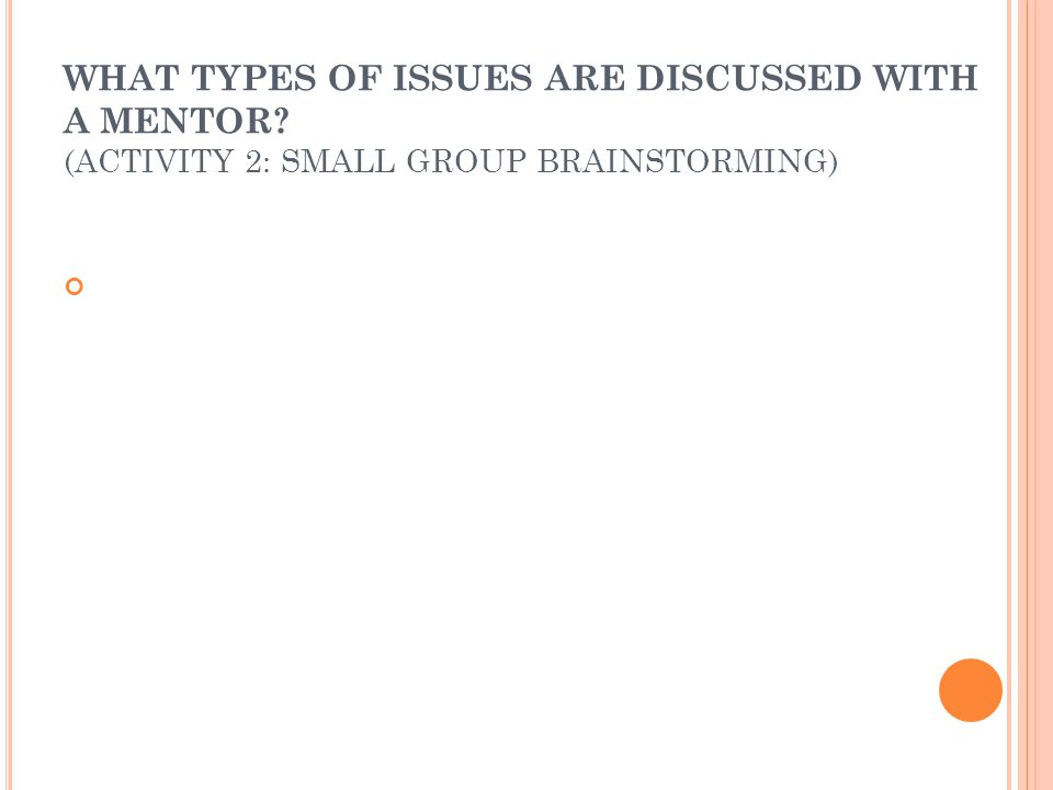 WHAT TYPES OF ISSUES ARE DISCUSSED WITH A MENTOR? (ACTIVITY 2: SMALL GROUP BRAINSTORMING)