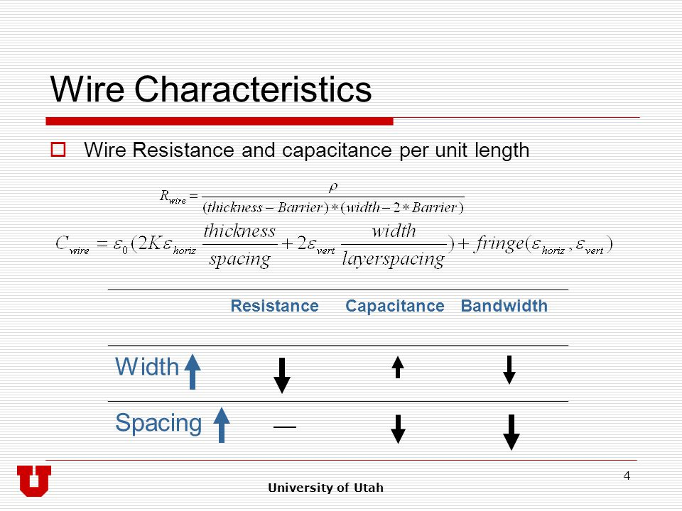 University of Utah 4 Wire Characteristics  Wire Resistance and capacitance per unit length ResistanceCapacitanceBandwidth Width Spacing