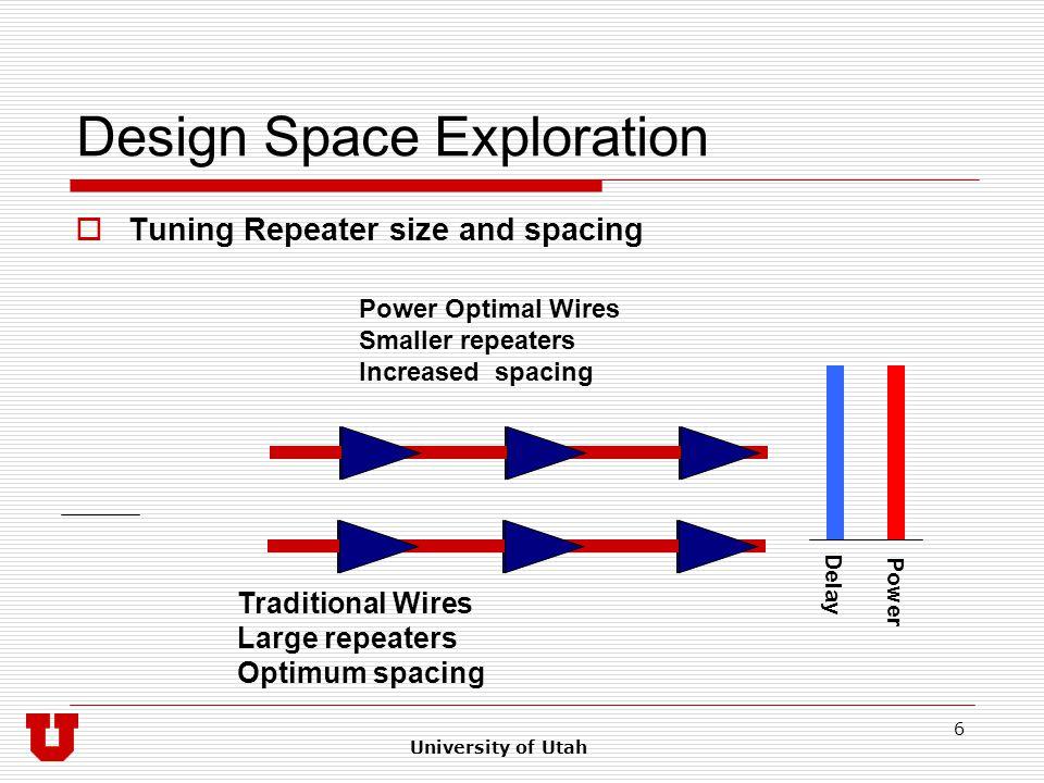 University of Utah 7 Design Space Exploration Base case B wires 8x plane Base case W wires 4x plane Power optimized PW wires 4x plane Fast, low bandwidth L wires 8x plane Latency 1x Power 1x Area 1x Latency 1.6x Power 0.9x Area 0.5x Latency 3.2x Power 0.3x Area 0.5x Latency 0.5x Power 0.5x Area 4x