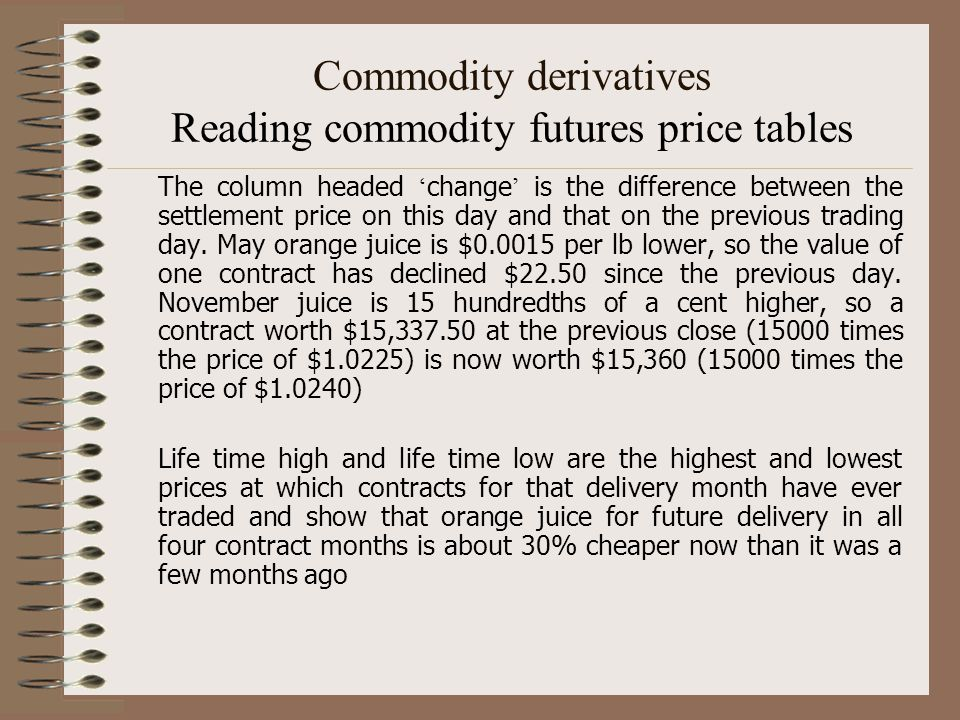 Commodity derivatives Reading commodity futures price tables The column headed ' change ' is the difference between the settlement price on this day a