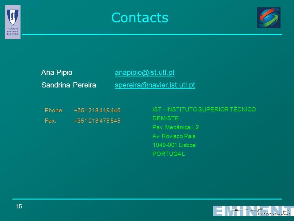 15 Contacts Sandrina Pereira spereira@navier.ist.utl.ptspereira@navier.ist.utl.pt IST - INSTITUTO SUPERIOR TÉCNICO DEM/STE Pav. Mecânica I, 2 Av. Rovi