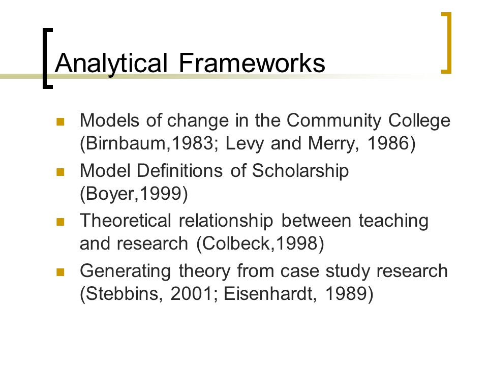 Analytical Frameworks Models of change in the Community College (Birnbaum,1983; Levy and Merry, 1986) Model Definitions of Scholarship (Boyer,1999) Theoretical relationship between teaching and research (Colbeck,1998) Generating theory from case study research (Stebbins, 2001; Eisenhardt, 1989)