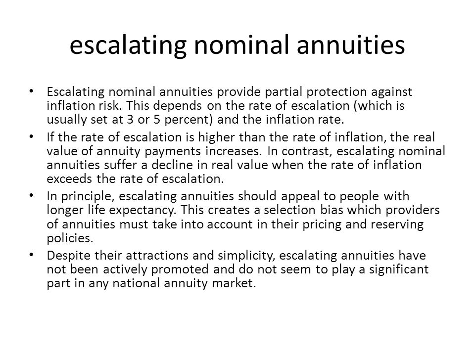 fixed real annuities Fixed real annuities provide protection against longevity, investment and inflation risks.