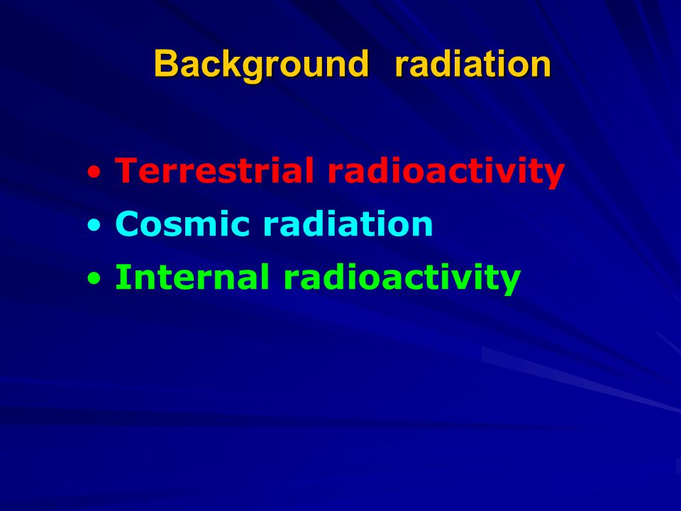 Background radiation Terrestrial radioactivity Cosmic radiation Internal radioactivity