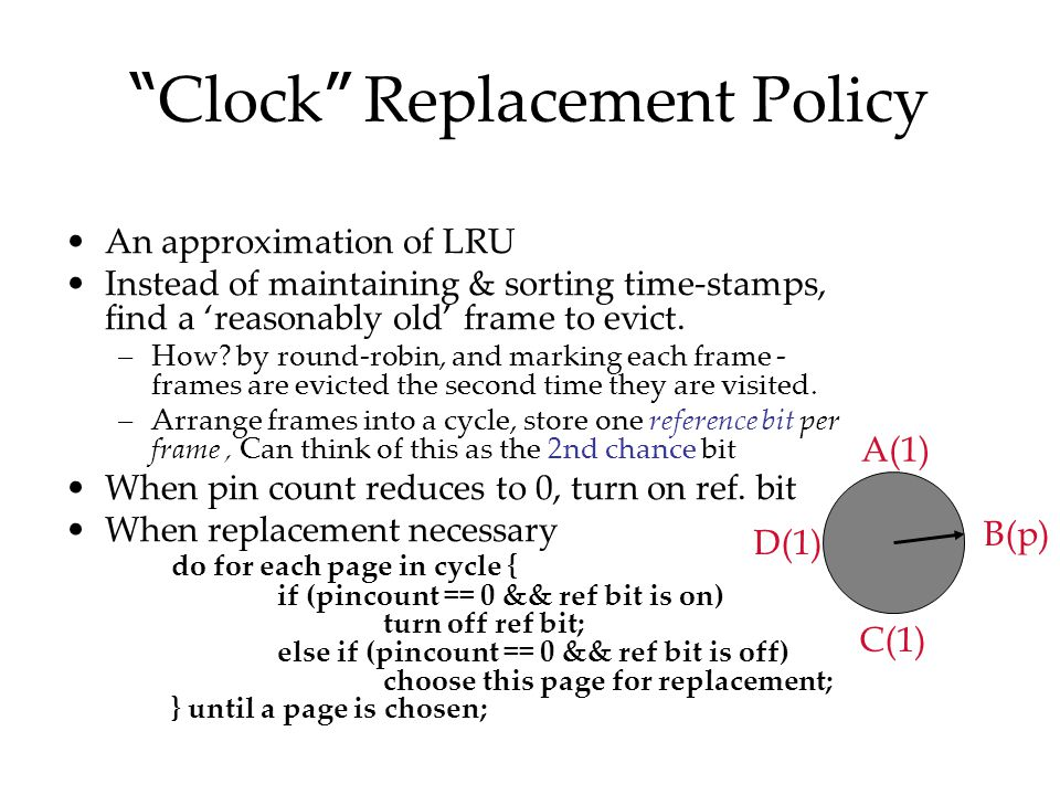 """ Clock "" Replacement Policy An approximation of LRU Instead of maintaining & sorting time-stamps, find a 'reasonably old' frame to evict. –How? by ro"