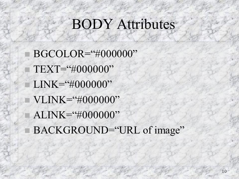 10 BODY Attributes n BGCOLOR= #000000 n TEXT= #000000 n LINK= #000000 n VLINK= #000000 n ALINK= #000000 n BACKGROUND= URL of image