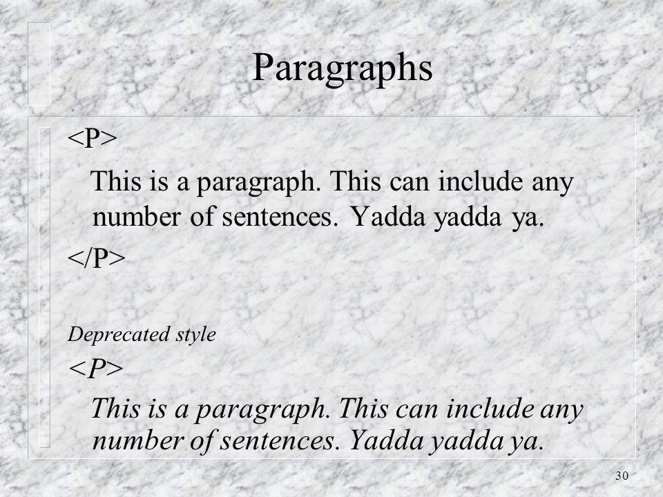 30 Paragraphs This is a paragraph. This can include any number of sentences. Yadda yadda ya. Deprecated style This is a paragraph. This can include an