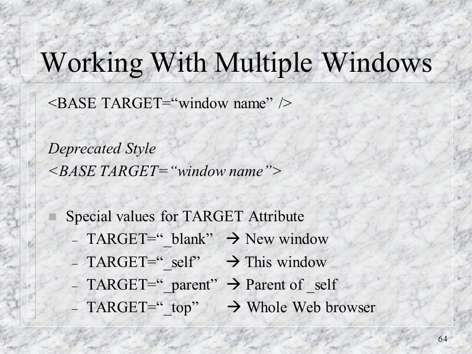 64 Working With Multiple Windows Deprecated Style n Special values for TARGET Attribute – TARGET= _blank  New window – TARGET= _self  This window – TARGET= _parent  Parent of _self – TARGET= _top  Whole Web browser