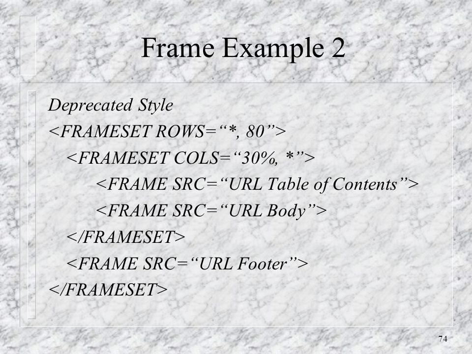 74 Frame Example 2 Deprecated Style