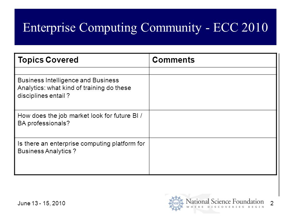 June 13 - 15, 20102 Enterprise Computing Community - ECC 2010 Topics CoveredComments Business Intelligence and Business Analytics: what kind of training do these disciplines entail .
