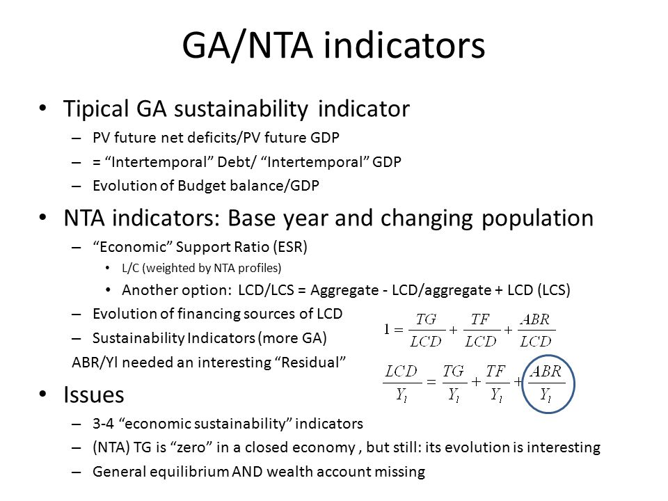GA/NTA indicators Tipical GA sustainability indicator – PV future net deficits/PV future GDP – = Intertemporal Debt/ Intertemporal GDP – Evolution of Budget balance/GDP NTA indicators: Base year and changing population – Economic Support Ratio (ESR) L/C (weighted by NTA profiles) Another option: LCD/LCS = Aggregate - LCD/aggregate + LCD (LCS) – Evolution of financing sources of LCD – Sustainability Indicators (more GA) ABR/Yl needed an interesting Residual Issues – 3-4 economic sustainability indicators – (NTA) TG is zero in a closed economy, but still: its evolution is interesting – General equilibrium AND wealth account missing