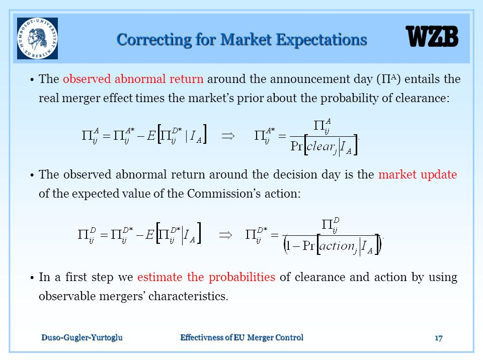 Duso-Gugler-YurtogluEffectivness of EU Merger Control17 Correcting for Market Expectations The observed abnormal return around the announcement day (Π A ) entails the real merger effect times the market's prior about the probability of clearance: The observed abnormal return around the decision day is the market update of the expected value of the Commission's action: In a first step we estimate the probabilities of clearance and action by using observable mergers' characteristics.