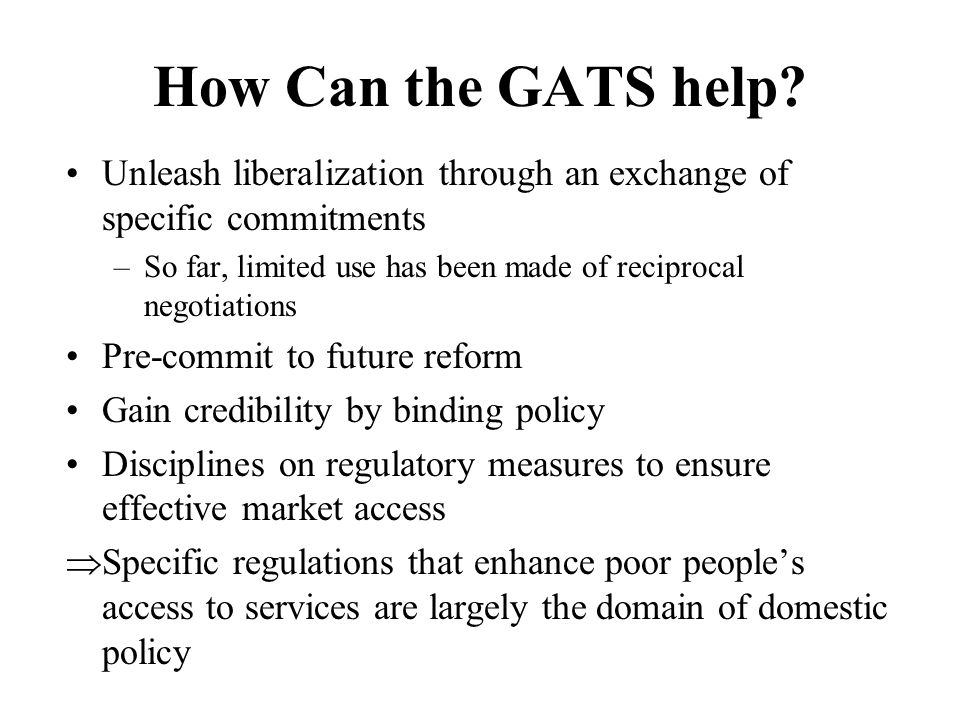 How Can the GATS help.