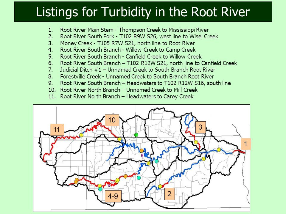 1.Root River Main Stem - Thompson Creek to Mississippi River 2.Root River South Fork - T102 R9W S26, west line to Wisel Creek 3.Money Creek - T105 R7W S21, north line to Root River 4.Root River South Branch - Willow Creek to Camp Creek 5.Root River South Branch - Canfield Creek to Willow Creek 6.Root River South Branch – T102 R12W S21, north line to Canfield Creek 7.Judicial Ditch #1 – Unnamed Creek to South Branch Root River 8.Forestville Creek - Unnamed Creek to South Branch Root River 9.Root River South Branch – Headwaters to T102 R12W S16, south line 10.Root River North Branch – Unnamed Creek to Mill Creek 11.Root River North Branch – Headwaters to Carey Creek Listings for Turbidity in the Root River 1 2 3 4-9 10 11