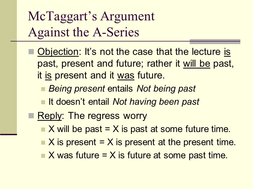 McTaggart's Argument Against the A-Series Objection: It's not the case that the lecture is past, present and future; rather it will be past, it is present and it was future.