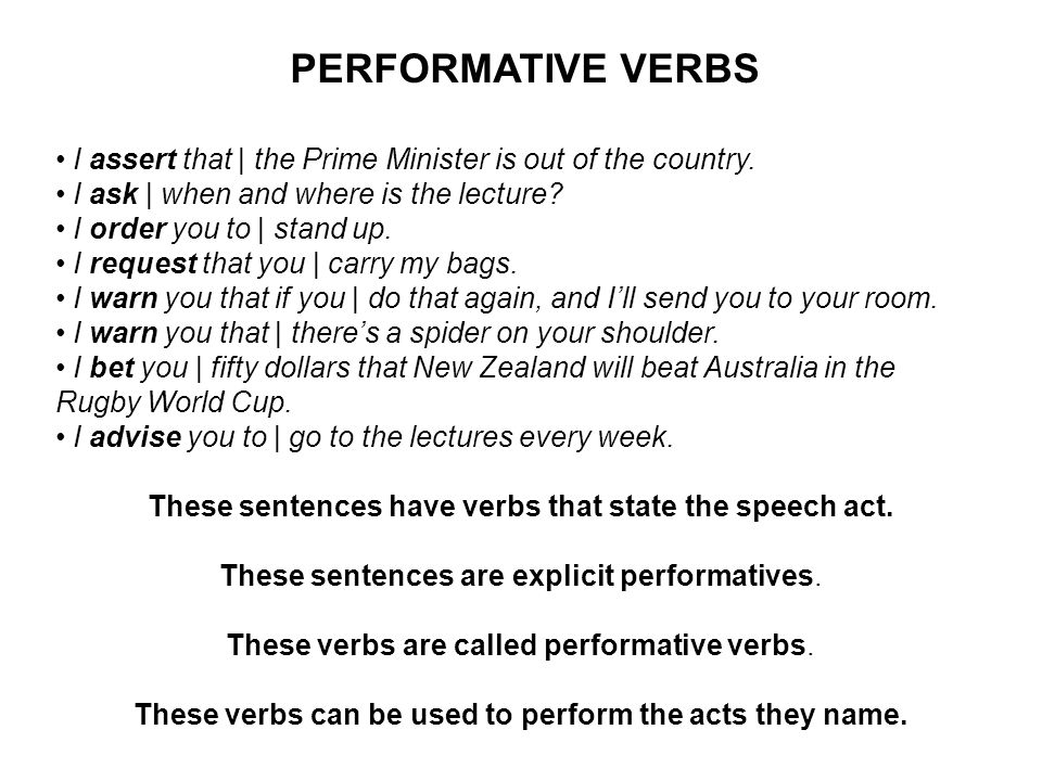 PERFORMATIVE VERBS I assert that | the Prime Minister is out of the country.