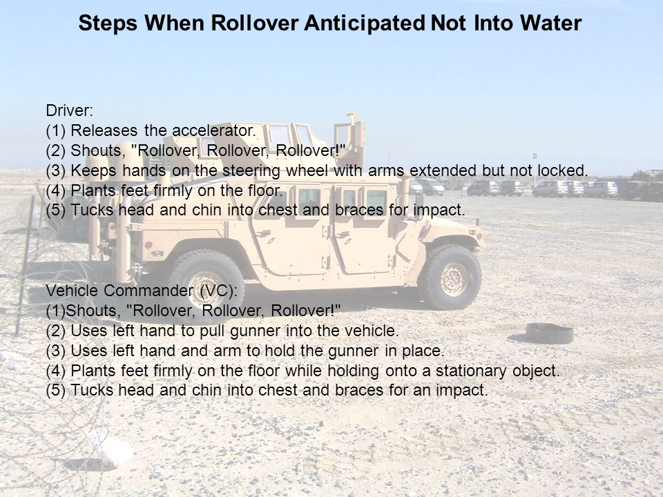 Check On Learning 5.What are the egress actions for the Gunner following a rollover on dry land.