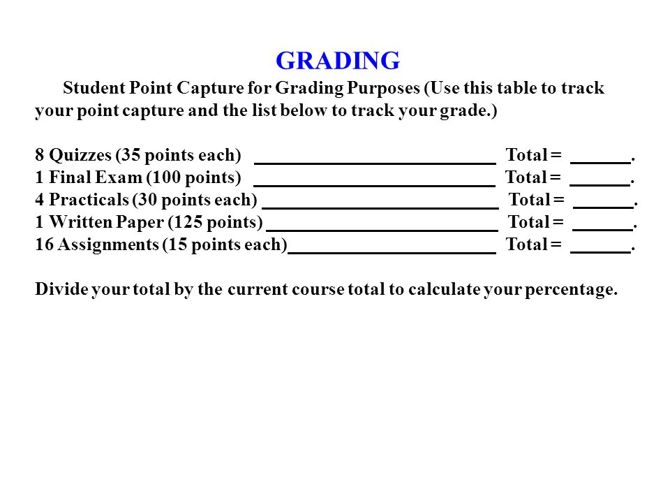 GRADING Student Point Capture for Grading Purposes (Use this table to track your point capture and the list below to track your grade.) 8 Quizzes (35 points each) Total =.