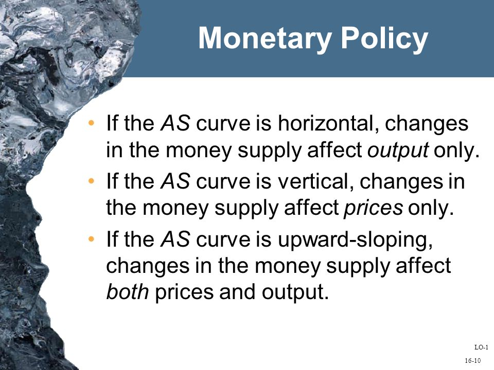 16-10 If the AS curve is horizontal, changes in the money supply affect output only.
