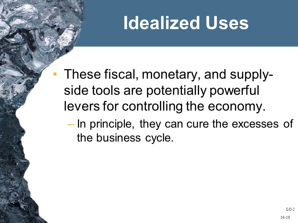 16-18 Idealized Uses These fiscal, monetary, and supply- side tools are potentially powerful levers for controlling the economy.