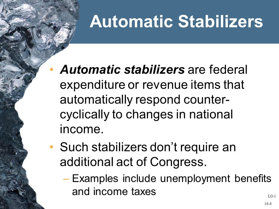 16-6 Automatic Stabilizers Automatic stabilizers are federal expenditure or revenue items that automatically respond counter- cyclically to changes in national income.