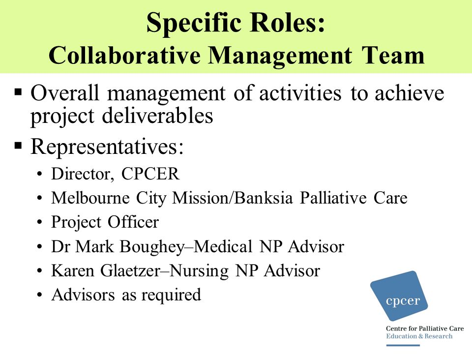 Specific Roles: Collaborative Management Team  Overall management of activities to achieve project deliverables  Representatives: Director, CPCER Melbourne City Mission/Banksia Palliative Care Project Officer Dr Mark Boughey–Medical NP Advisor Karen Glaetzer–Nursing NP Advisor Advisors as required
