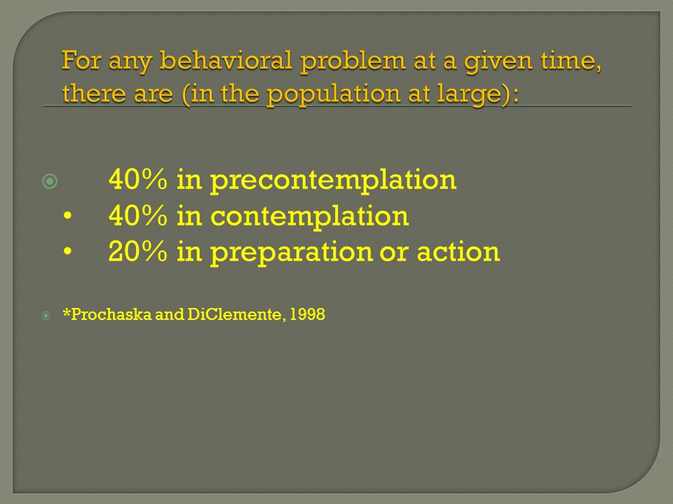  40% in precontemplation 40% in contemplation 20% in preparation or action  *Prochaska and DiClemente, 1998