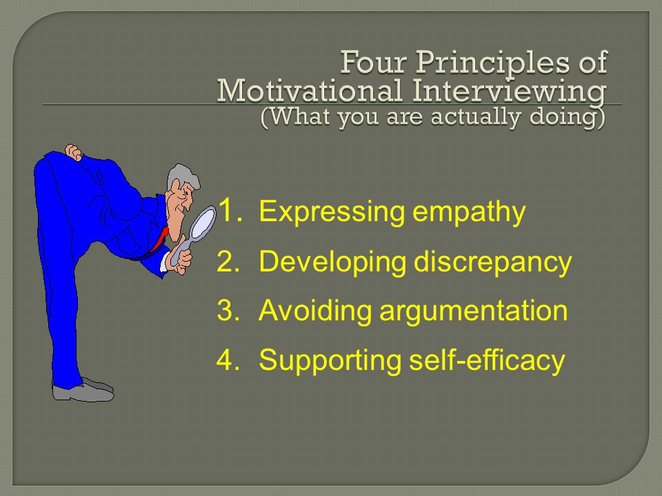 1. Expressing empathy 2.Developing discrepancy 3.Avoiding argumentation 4.Supporting self-efficacy